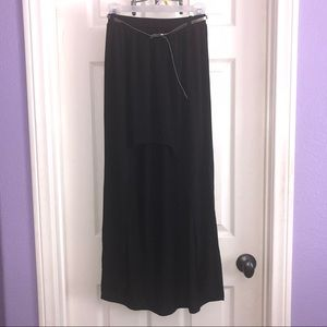 Black High Low Skirt with Belt
